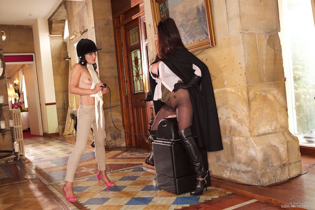 sybian instruction, Miss Hybrid, Jade, jodhpurs, Sybian, leather, boots, femdom, riding crop, domination, mistress, pantyhose