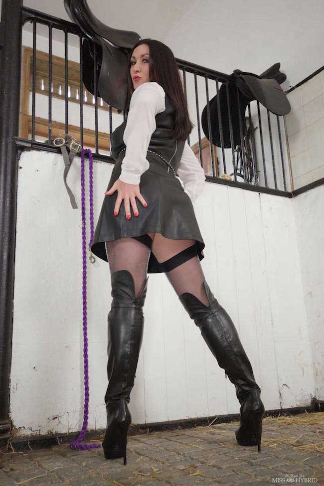 Thigh boots leather fetish riding mistress Miss Hybrid.